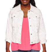 Arizona Destructed Denim Jean Jacket - Juniors Plus