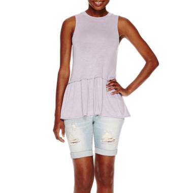 jcpenney.com | a.n.a® Peplum Tank Top or Cuffed Denim Bermuda Shorts