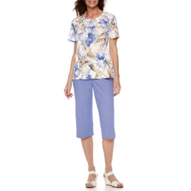 jcpenney.com | Alfred Dunner® Sanibel Island Short-Sleeve Print Top or Capris