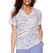 Alfred Dunner® Sanibel Island Short-Sleeve Palm Print Top