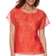 Alfred Dunner® Feels Like Spring Short-Sleeve Burnout Top and Necklace