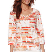 Alfred Dunner® Feels Like Spring 3/4 Sleeve Leaf Print Top
