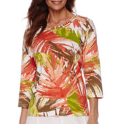 Alfred Dunner® Feels Like Spring 3/4-Sleeve Tropical Print Top