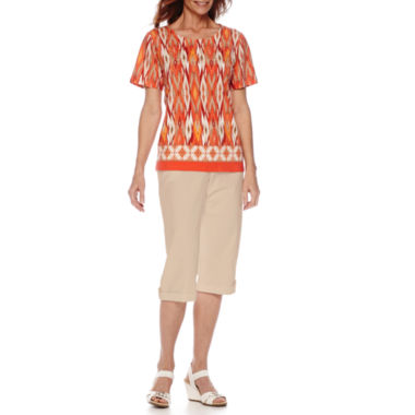 jcpenney.com | Alfred Dunner® Feels Like Spring Short-Sleeve Diamond Print Top or Capris