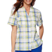 Alfred Dunner® Tropical Punch Short-Sleeve Plaid Shirt