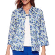 Alfred Dunner® Tropical Punch 3/4-Sleeve Layered Shirt