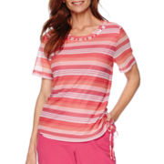 Alfred Dunner® Tropical Punch Short-Sleeve Striped Top