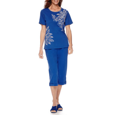 jcpenney.com | Alfred Dunner® Tropical Punch Short-Sleeve Embroidery Top or Capris