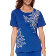 Alfred Dunner® Tropical Punch Short-Sleeve Embroidery Top