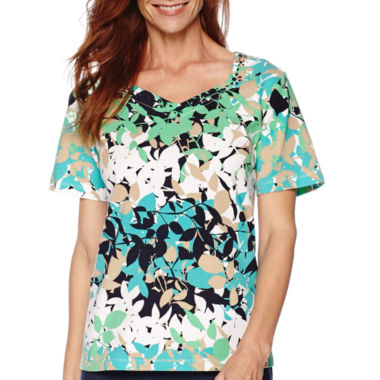 jcpenney.com | Alfred Dunner® Short-Sleeve Leaf Print Tee