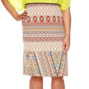 Bisou Bisou® Side-Slit Pencil Skirt - Plus