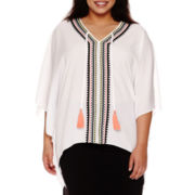 Bisou Bisou® Embroidered Caftan Top - Plus