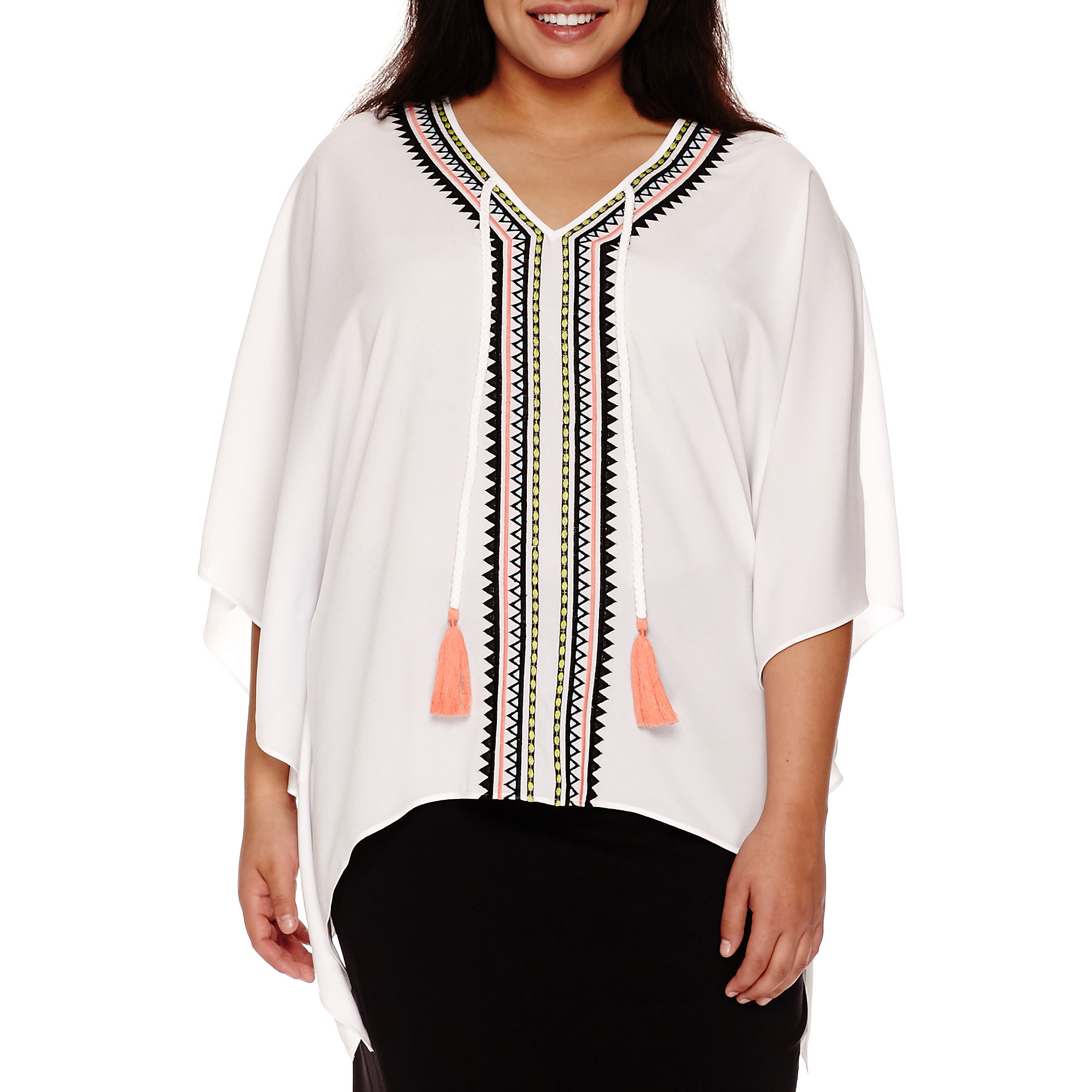 Bisou Bisou Embroidered Caftan Top - Plus plus size,  plus size fashion plus size appare