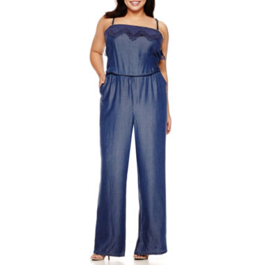 jcpenney.com | Bisou Bisou® Chambray Wide-Leg Jumpsuit - Plus