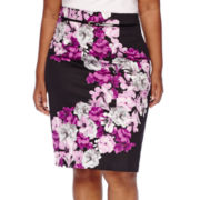 Worthington® High-Waist Belted Sateen Skirt - Plus