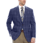 Stafford® Navy Windowpane Linen-Cotton Sport Coat - Classic Fit