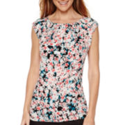 Liz Claiborne® Sleeveless Pleated Knit Top