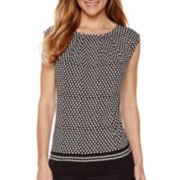 Liz Claiborne® Sleeveless Pleated Knit Top