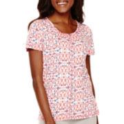 Liz Claiborne® Short-Sleeve Print High-Low T-Shirt