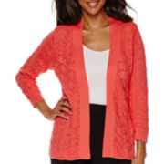 Sag Harbor Animal Instinct 3/4-Sleeve Cardigan Sweater