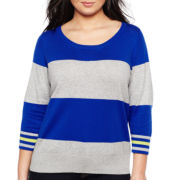 jcp™ 3/4-Sleeve Patch Sweater - Plus