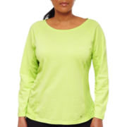 Xersion™ Long-Sleeve Textured Mesh Trim Top- Plus