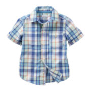 Carter's® Short-Sleeve Blue Plaid Woven Shirt - Boys 2t-4t