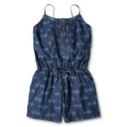 Arizona Smocked Denim Sleeveless Romper - Girls 6-16 and Plus