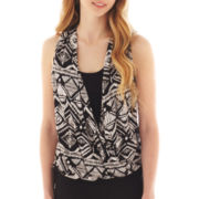 by&by Sleeveless Drape-Front Print Top