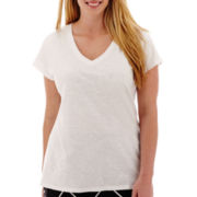 a.n.a® Short-Sleeve V-Neck Slub T-Shirt - Plus