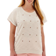 a.n.a® Short-Sleeve High-Low Sweatshirt - Plus