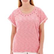 a.n.a® Short-Sleeve High-Low Sweatshirt - Plus