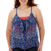 Arizona Woven Ruffle Tank Top - Plus