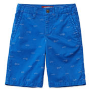 Arizona Shark Print Chino Shorts - Boys 8-20, Slim