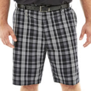 PGA TOUR® Flat-Front Plaid Shorts–Big & Tall