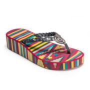 MUK LUKS® Sierra T-Strap Wedge Flip-Flops