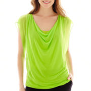 Worthington® Short-Sleeve Drape-Neck Banded-Bottom Top