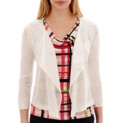 Worthington® 3/4-Sleeve Flyaway Cardigan Sweater - Petite