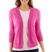St. John's Bay® 3/4-Sleeve Flyaway Cardigan Sweater