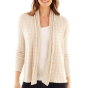 St. John's Bay® Long-Sleeve Flyaway Cardigan Sweater - Petite
