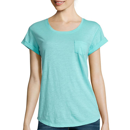 a.n.a Short Sleeve Scoop Neck T-Shirt-Womens