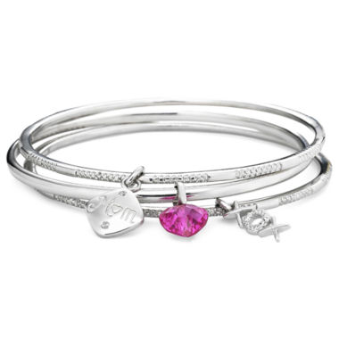 jcpenney.com | Pink & White Sapphire & Diamond-Accent 3-pc. Mom Bangle Set