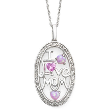 jcpenney.com | Lab-Created Pink Sapphire, Opal & Diamond-Accent Mom Pendant Necklace