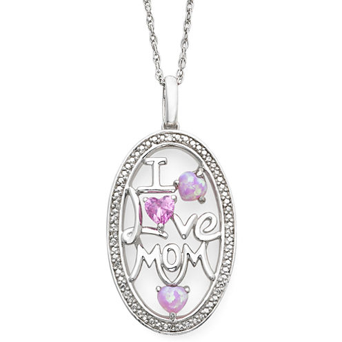 Lab-Created Pink Sapphire, Opal & Diamond-Accent Mom Pendant Necklace