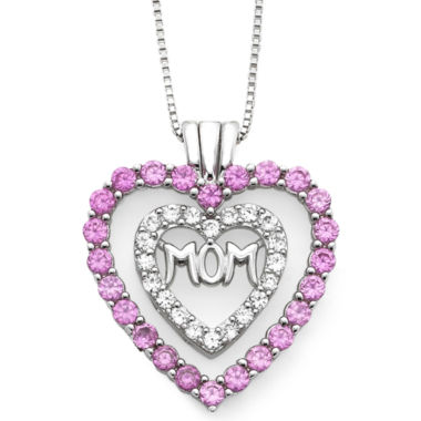 jcpenney.com | Lab-Created Pink & White Sapphire Mom Heart Pendant Necklace