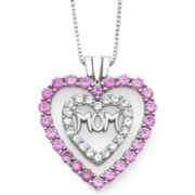 Lab-Created Pink & White Sapphire Mom Heart Pendant