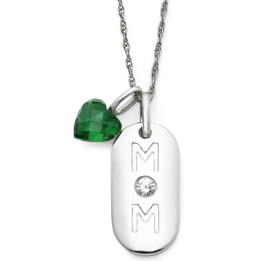 jcpenney.com | Simulated Emerald Heart & Sterling Silver Mom Dog Tag Pendant Necklace