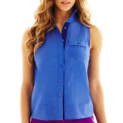 jcp™ Sleeveless Button-Front Pocket Shirt - Petite