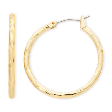 jcpenney.com | Liz Claiborne® Gold-Tone, Textured Hoop Earrings