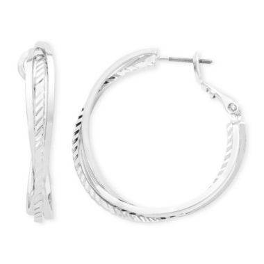 jcpenney.com | Liz Claiborne® Silver-Tone, Twisted Hoop Earrings